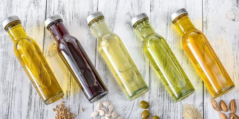 Assortment of vegetable oils in bottles